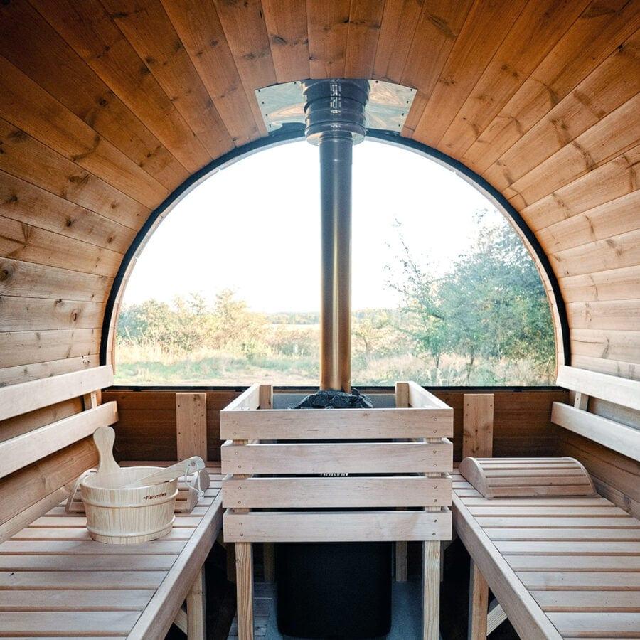 Intérieur du sauna de Nature Bubble Feluy près de Charleroi