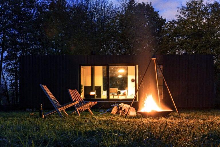 Slow Cabin vue de nuit en Belgique