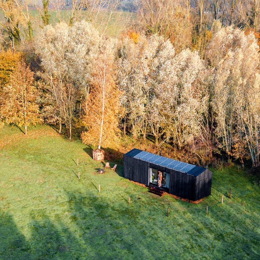 Slow Cabin vue du ciel en Belgique