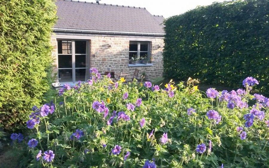 Vue sur la maison et le jardin fleuris à un Air de Campagne à Sprimont
