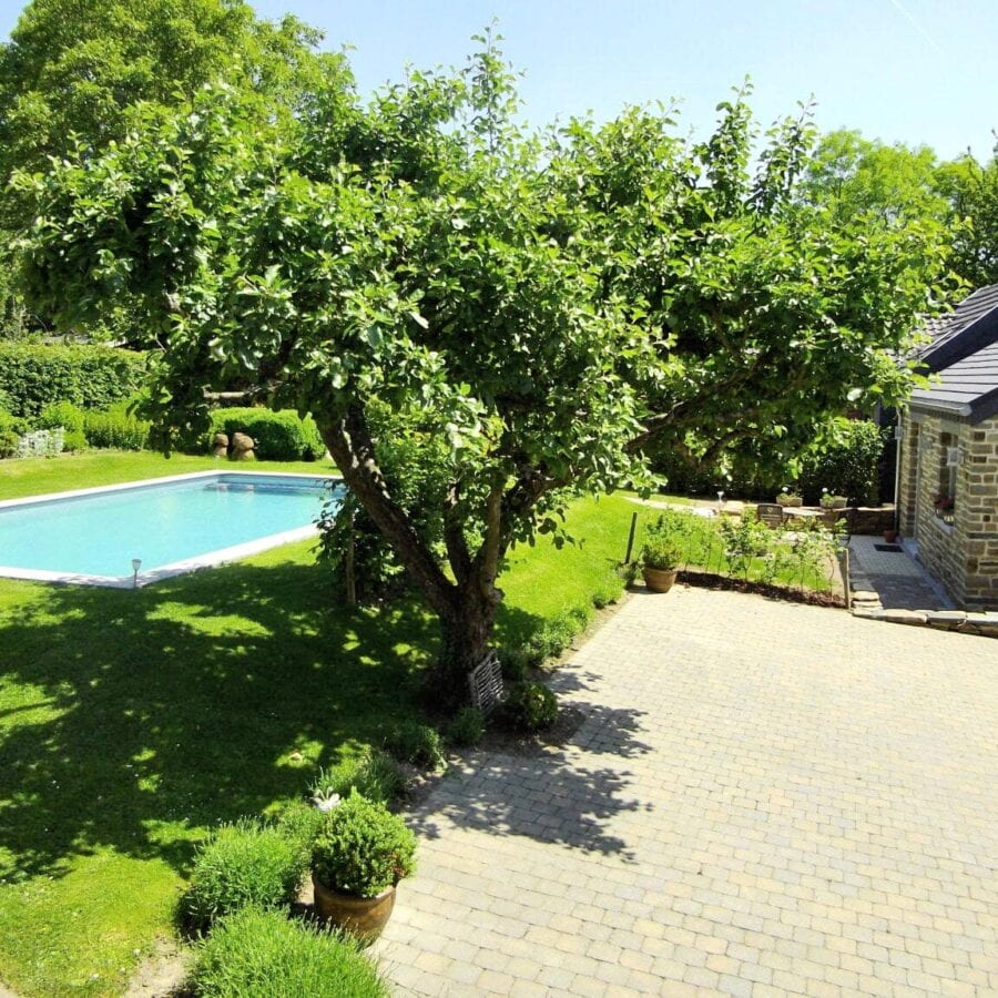Vue sur le jardin et la piscine à un Air de Campagne à Sprimont