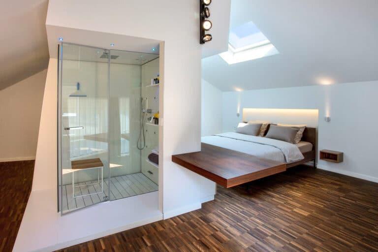 Douche et lit confortable au B&B Snooz Inn à Gand